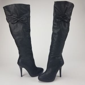 [Qupid] Over The Knee Black High Heel Boots